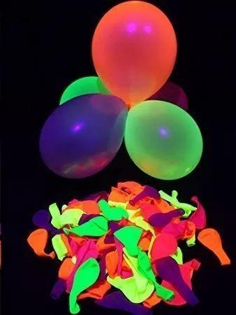 Balões Neon kit 25 unidades - brilha com luz negra