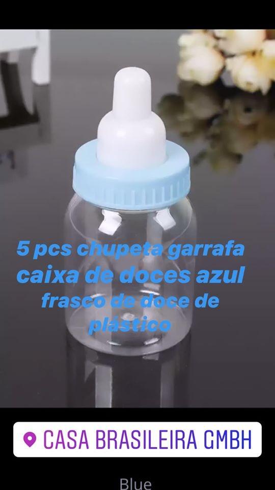 Mini Mamadeira para Lembrancinhas kit com 5 unid azul