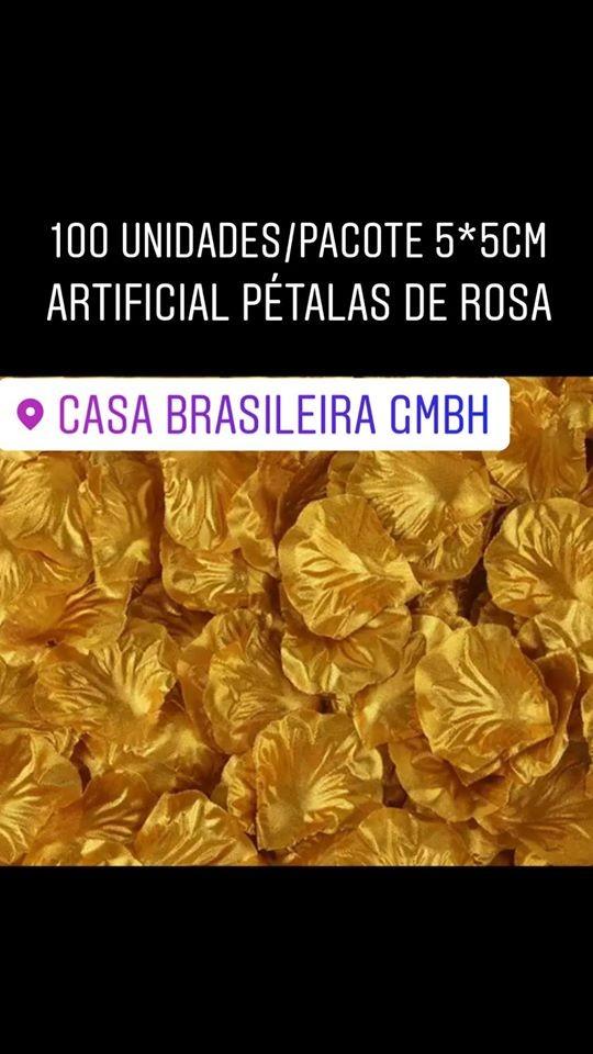 100 pétalas de rosas artificiais dourado