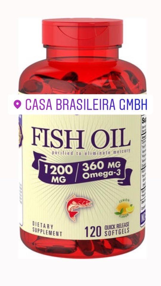 Óleo de peixe com ómega-3Sabor a limão, 1200 mg, 120 Cápsulas gelatinosas
