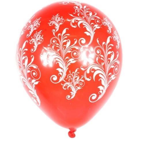 Balão Latex Decorado Arabesco Vermelho N:10 Pacote C/25 Unidade - Pic Pic