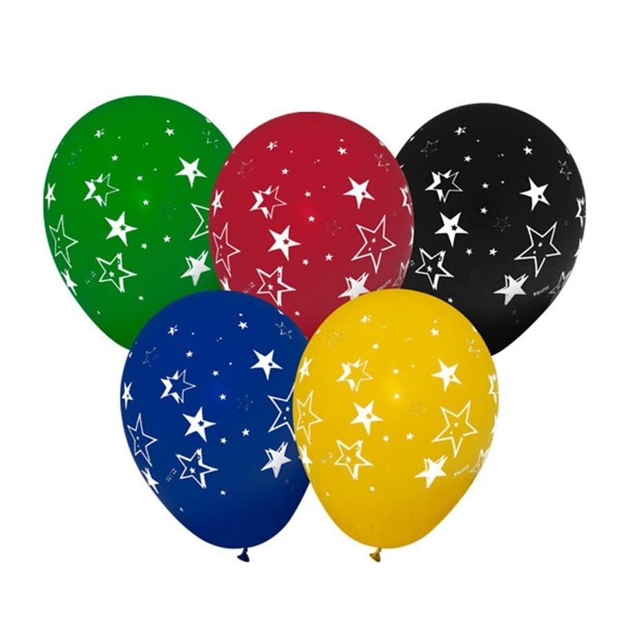 Balão Látex de Estrelas Coloridos n10 28cm 25 unid