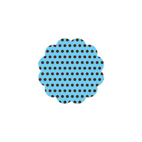 Fundo rendado N9 Poa Azul e bolinha marrom com 100 unidades
