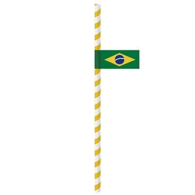 Canudo de Papel Bandeirola BRASIL 20 unidades