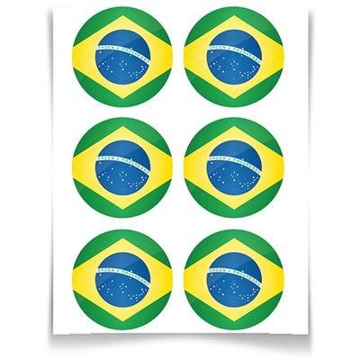 Adesivo Especial Redondo Bandeira do Brasil - 12 unidades