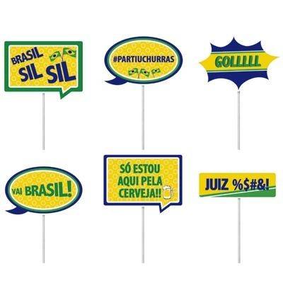 Plaquinhas Divertidas BRASIL - 08 unidades